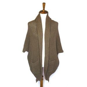 Trina Turk knit cocoon cardigan sweater, tan/brown